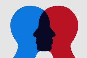 lado direito cabeça vermelha lado esquerdo cabeça azul